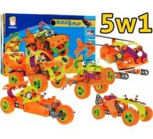 Klocki konstrukcyjne bezpieczne pojazdy 5w1 - 120 el